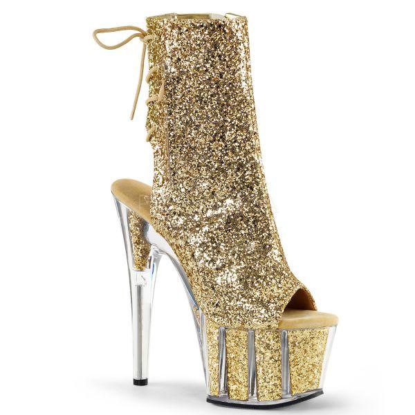 Offene Schnür-Stiefelette mit Plateau gold Glitter Adore-1018G